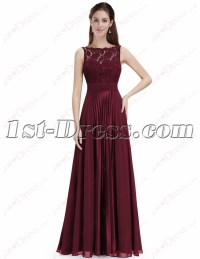 Elegant Burgundy Lace Prom Dress with Open Back:1st-dress.com