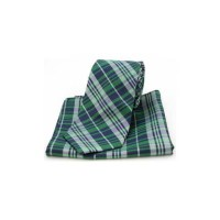 Green Tartan Pattern Matching Silk Tie and Pocket Square