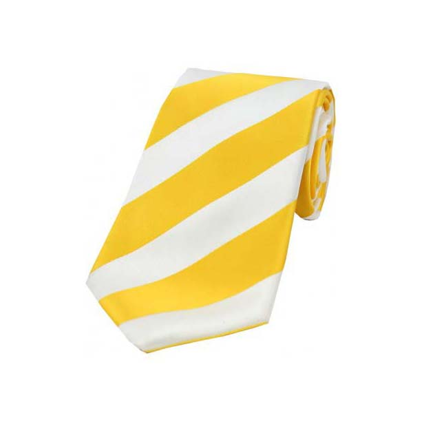 Gold and White College Style Striped Silk Tie