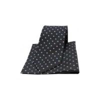 Black and Grey Polka Dot Matching Silk Tie and Pocket Square