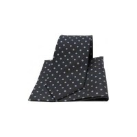 Black and Grey Polka Dot Matching Silk Tie and Pocket Square