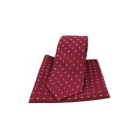 Wine and White Pin Dot Silk Matching Tie and Pocket Square