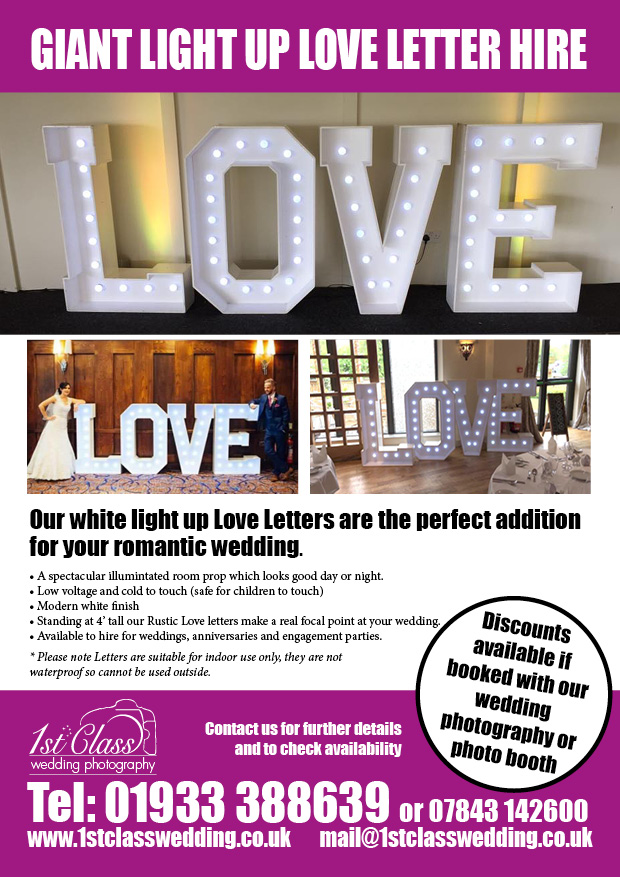 wedding love letter hire Northamptonshire