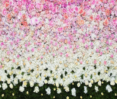 pink and white flower wall