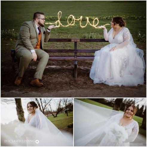 bride and groom sparkler shot