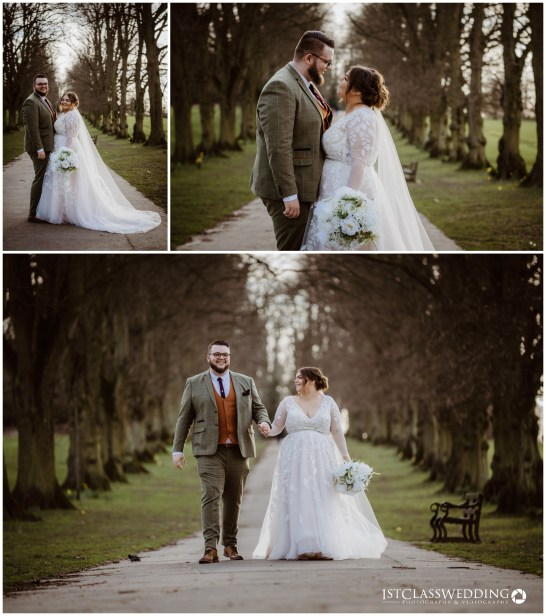 bride and groom in harpenden park