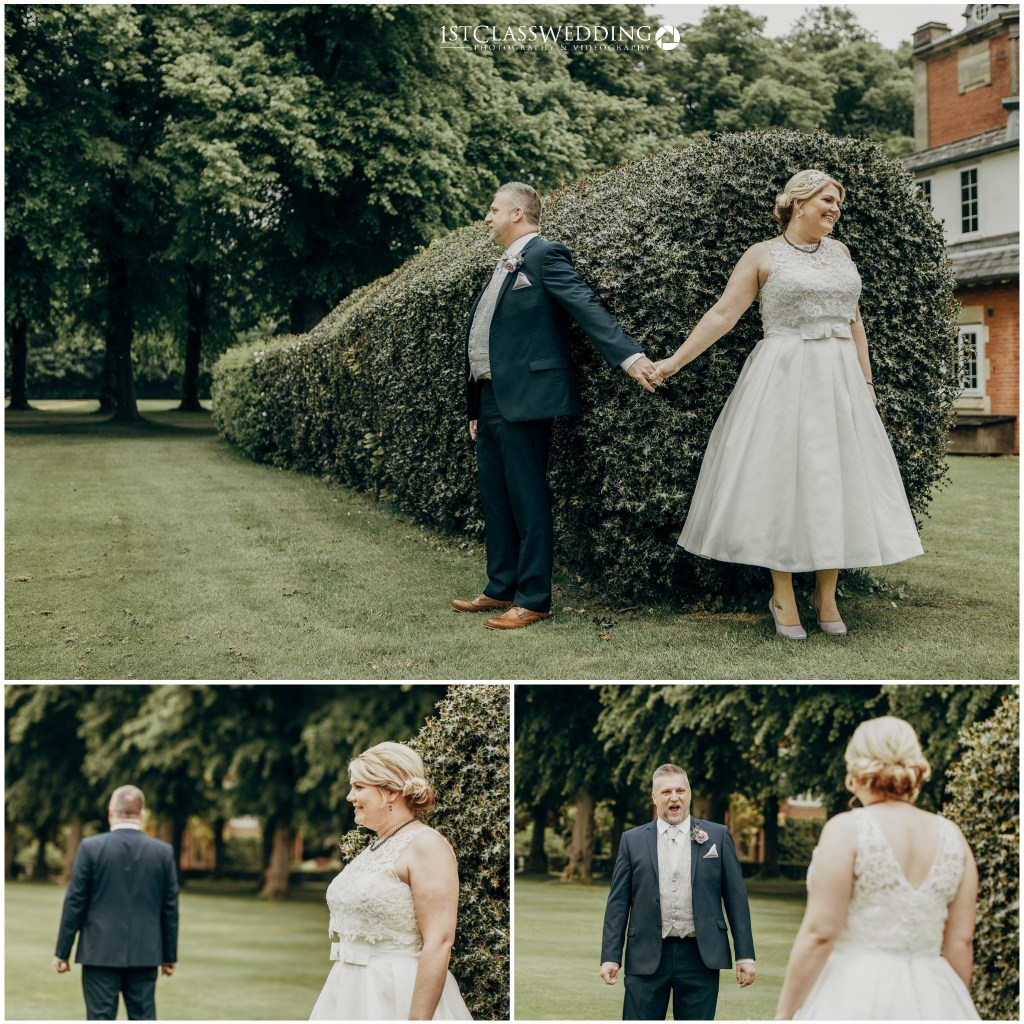 Bride and Groom enjoying a first look before their wedding. ceremony. Captured by us at Dunchurch Park
