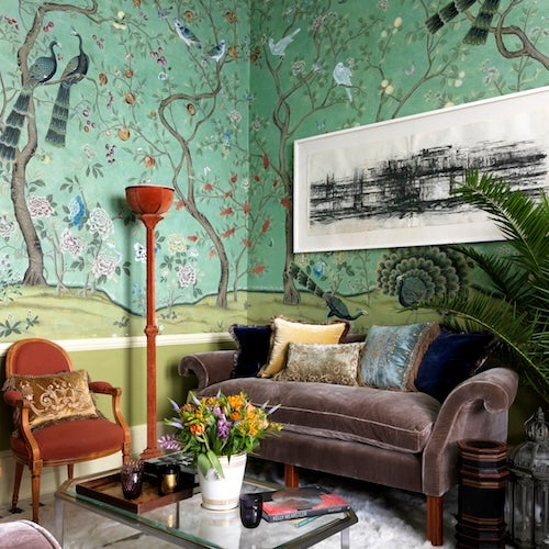 See the Lush London Flat of the de Gournay Wallpaper Heiresses  The Study