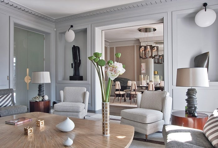 grey club chair swivel reclining with ottoman parisian interior design: 16 images of chic paris apartments & style
