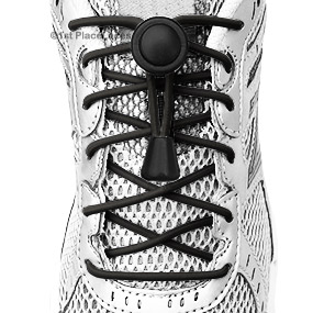Black elastic no tie locking shoelaces