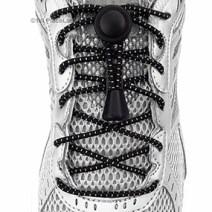 Black Striped elastic no tie locking shoelaces