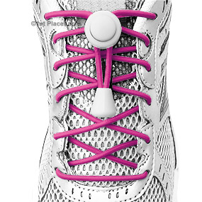 Fuchsia elastic no tie locking shoelaces