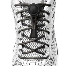 Grey elastic no tie locking shoelaces