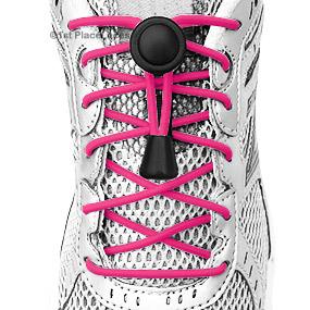 Hot Pink elastic no tie locking shoelaces