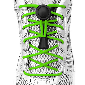Neon Green elastic no tie locking shoelaces