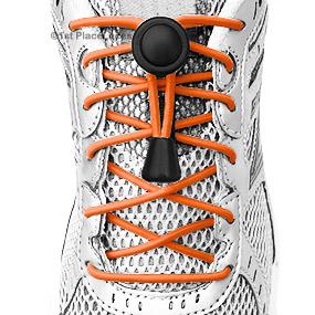 Neon Orange elastic no tie locking shoelaces
