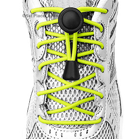 Neon Yellow elastic no tie locking shoelaces