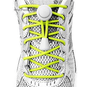 Neon Yellow elastic no tie locking shoelaces