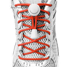 Orange elastic no tie locking shoelaces