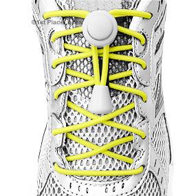 Yellow elastic no tie locking shoelaces