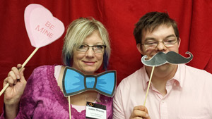 Here's a photo of me with my son Dustin at the Arc Valentine's Day dance photo booth.