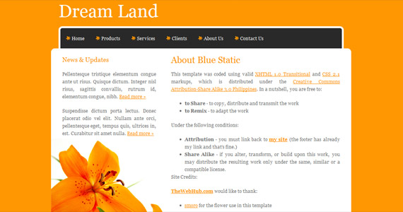 dreamland-xhtml-css-template