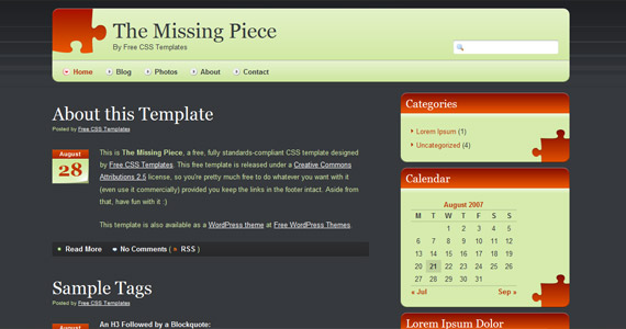 missing-piece-xhtml-css-template