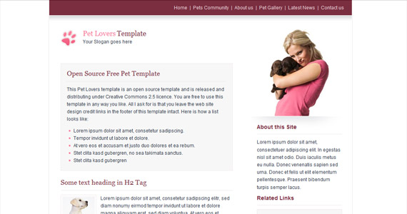 pets-xhtml-css-template
