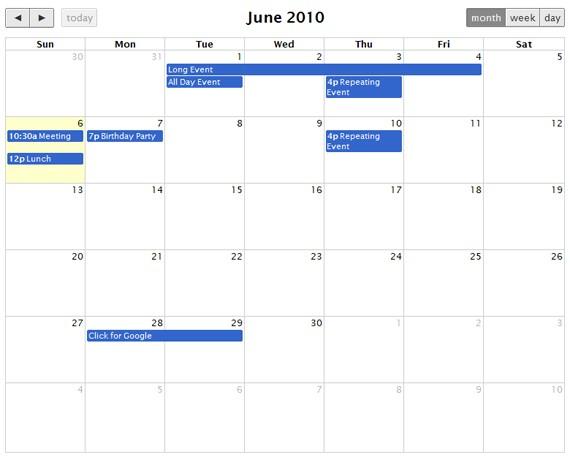 Calendar Widget Jquery Mobile | Holiday Calendar Western