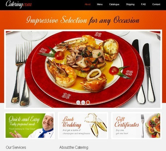 Free Website Template with jQuery Slider for Food Delivery Project
