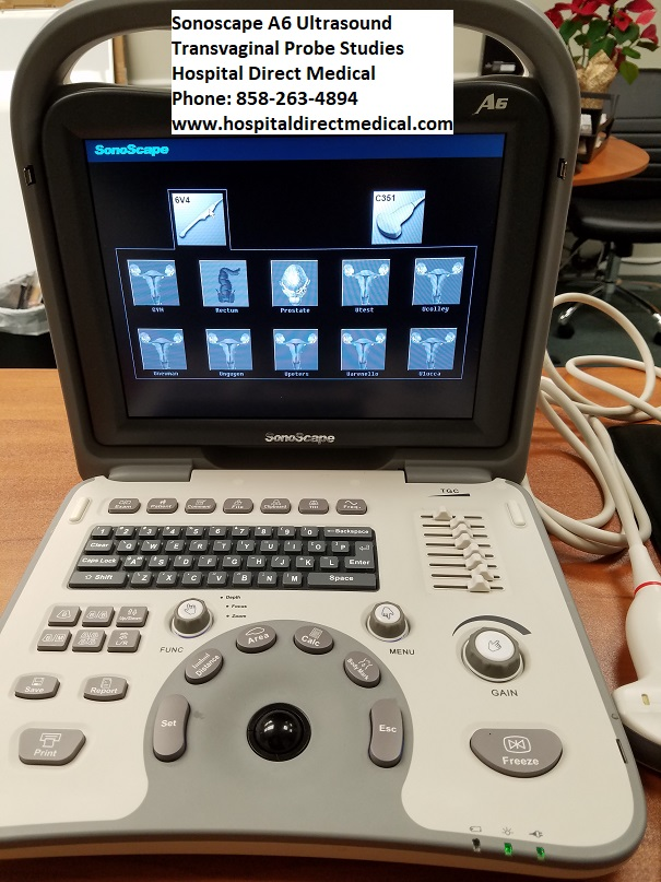 Sonoscape A6 portable ultrasound sold NEW with 1 year warranty. Call 858-263-4894 to order and for prices.