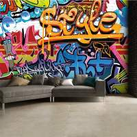 Brightly Coloured Street Graffiti Feature Wallpaper Mural ...