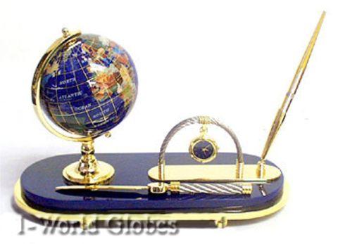 Lapis Globe with Pen Set Base