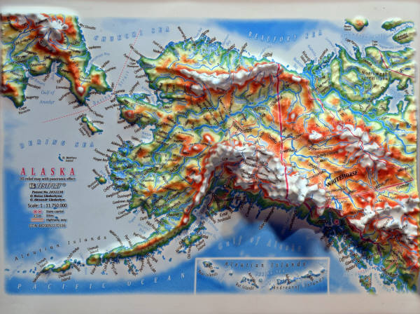 ALASKA 3D RELIEF MAP with panoramic effect  2000 GIFTS