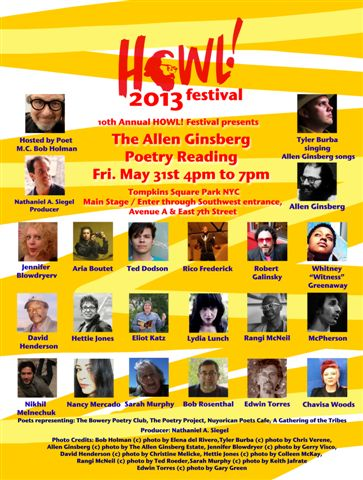 HOWL ! Festival presents The Allen Ginsberg Poetry Reading Friday May 31 2013 Tompkins Square Park NYC poster