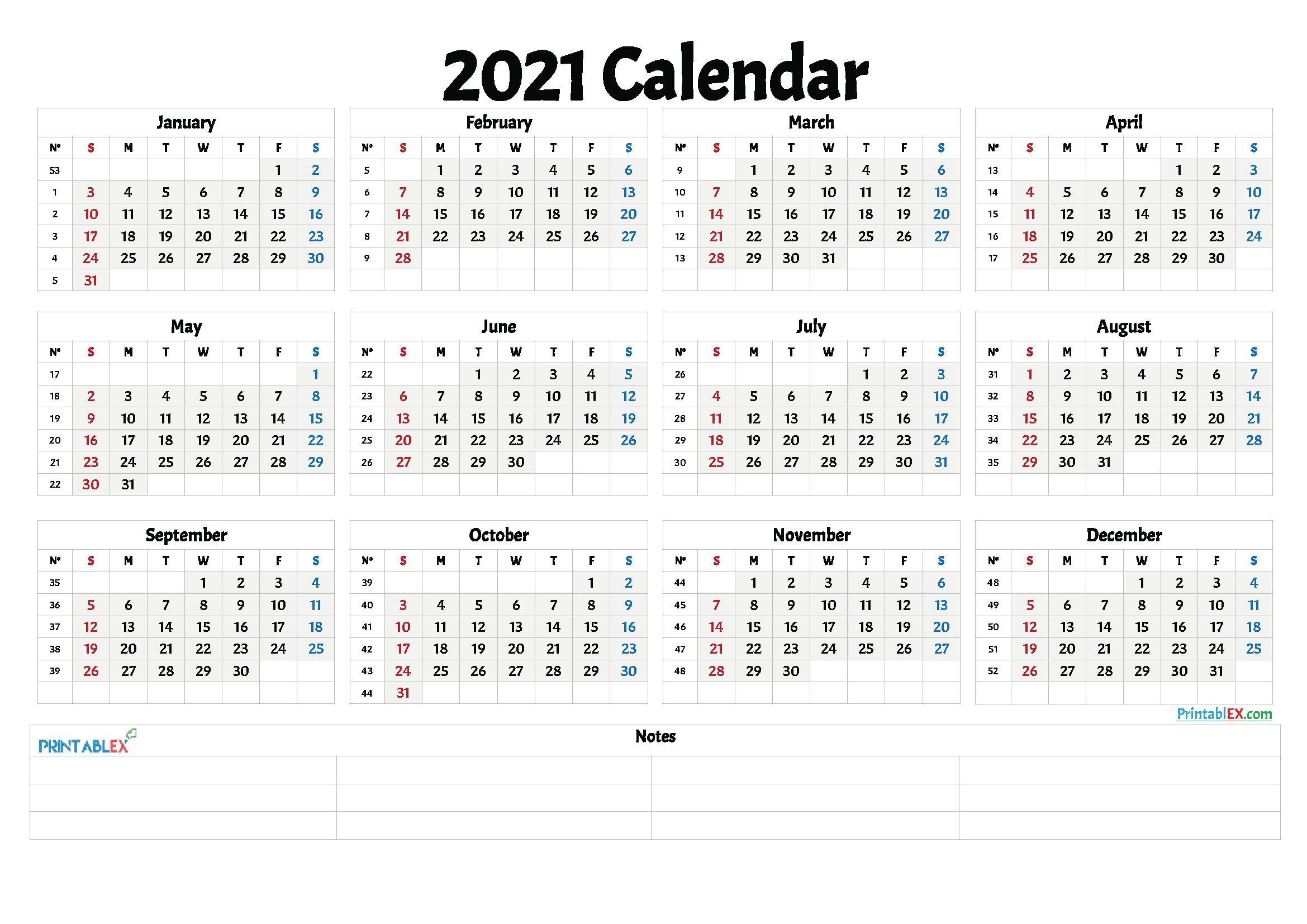 A fillable 2021 monthly calendar template with the us holidays designed with large boxes and ample notes space at the right side of the page. 2021 And 2021 Weekly Calendar Printable | Free 2021 ...