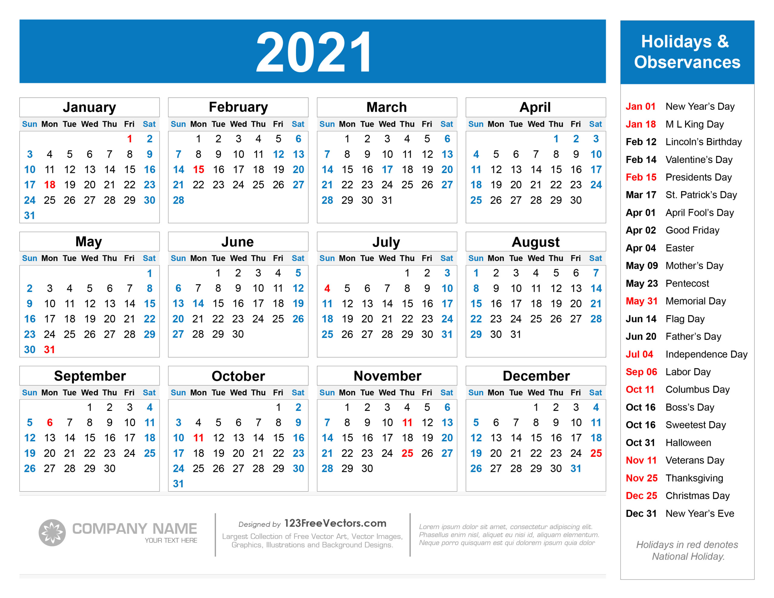 As we mark the one year anniversary of england's first. 2021 Calendar Holidays And Observances | Printable ...