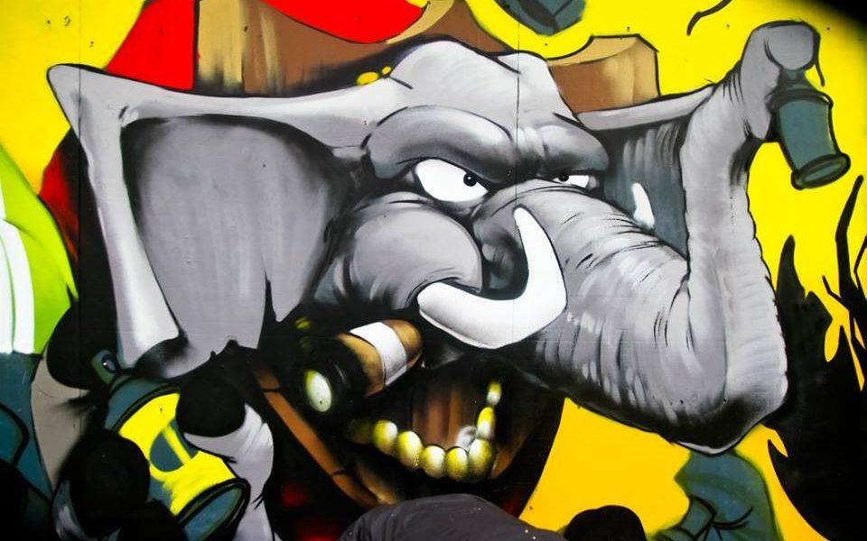 Graffiti elephant smoking a cigar and holding a tin of spray paint, Urban Art Now!, 20-21 Visual Arts Centre, Scunthorpe