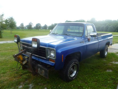 Blue Chevy Truck 4x4 Plow