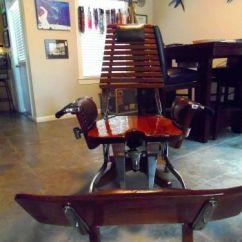 Fishing Fighting Chair Parts Crocker Company Find Teak Rock Away 130lbs Mounted On Base Vintage Furniture Us 1 500 00