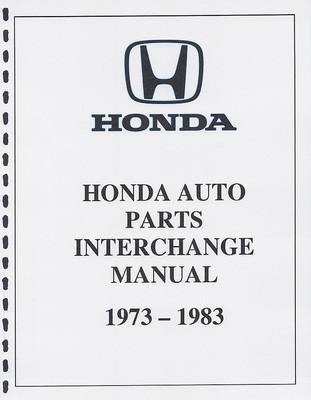 Purchase HONDA PARTS INTERCHANGE MANUAL 73 74 75 76 77 78