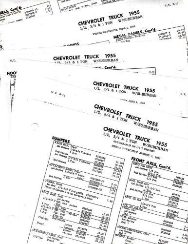 Sell 1955 CHEVROLET TRUCKS SUBURBAN 55 BODY PART LISTS