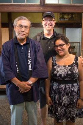 Posing with the sake master at the distillery where we bought our dinner gift