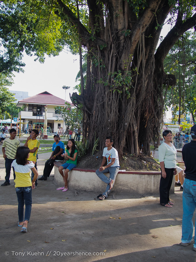 A typical scene at Dumaguete's vibrant central square