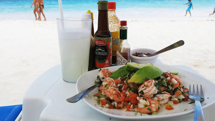 Fresh Mexican ceviche, served beachfront