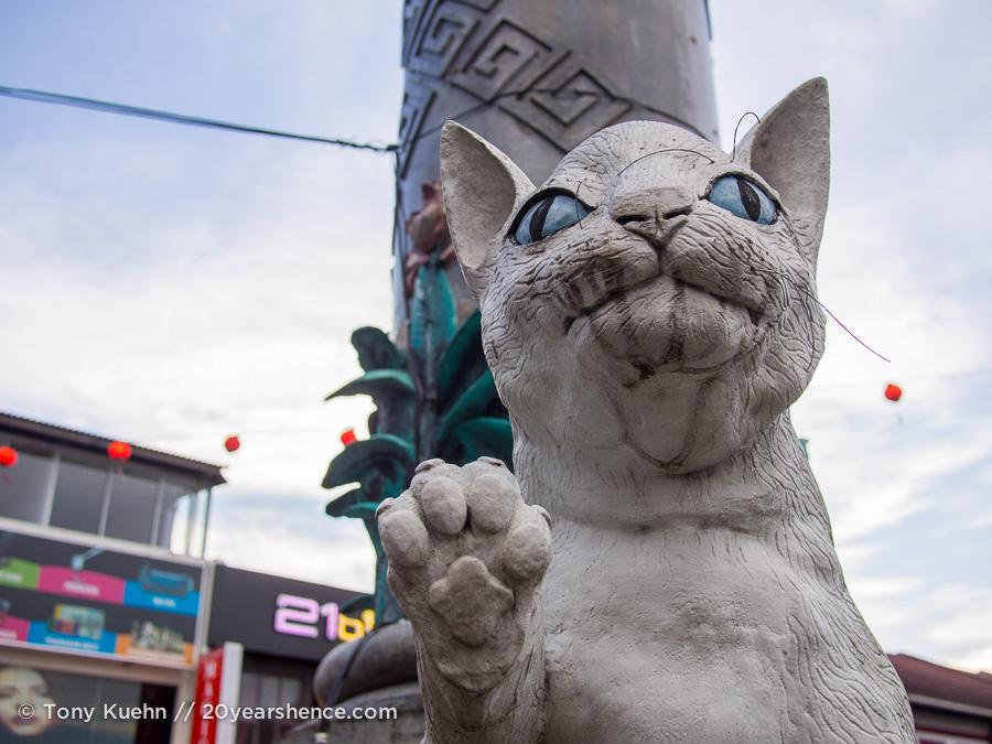 A cat statue in Kuching, Malaysia