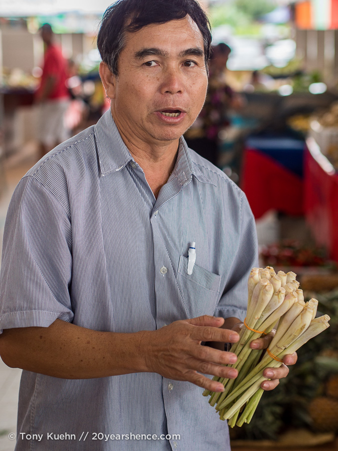 Man holding lemongrass in Kuching, Borneo