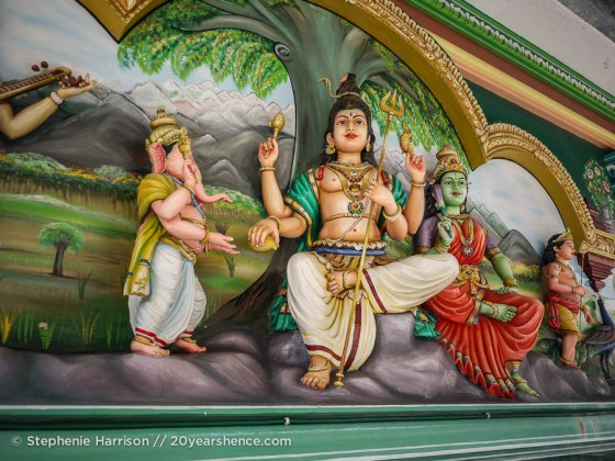 Colorful Hindu carvings at Sri Mahamariamman