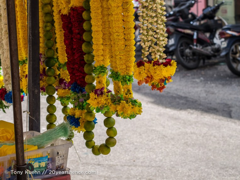 Hindu flower garlands at Sri Mahamariamman Temple