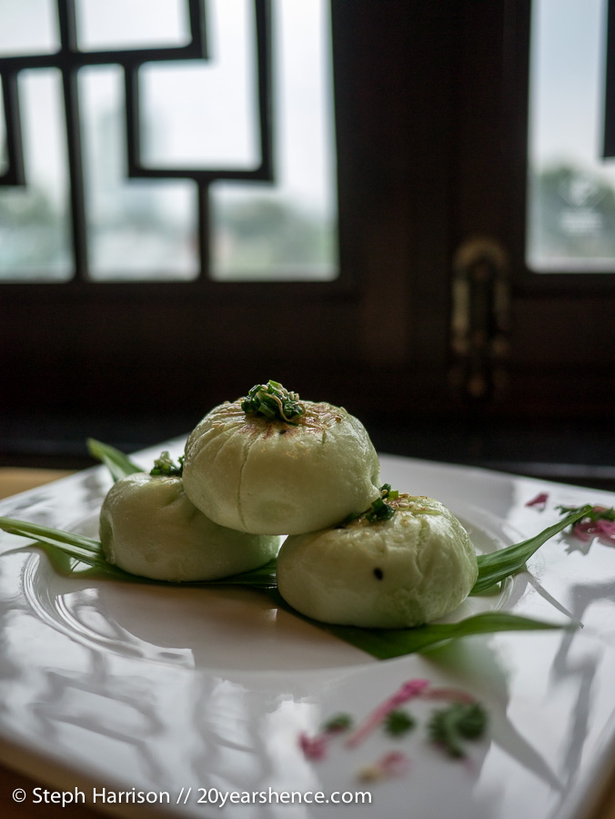 Barbecue pork buns infused with pandan